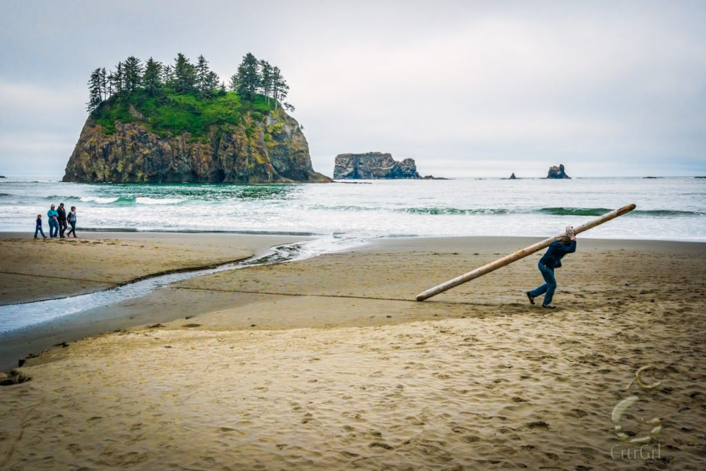 A homeless man finds materials to build shelter at 2nd Beach, WA. Photo by Scott McGee at Under Pressure Photography