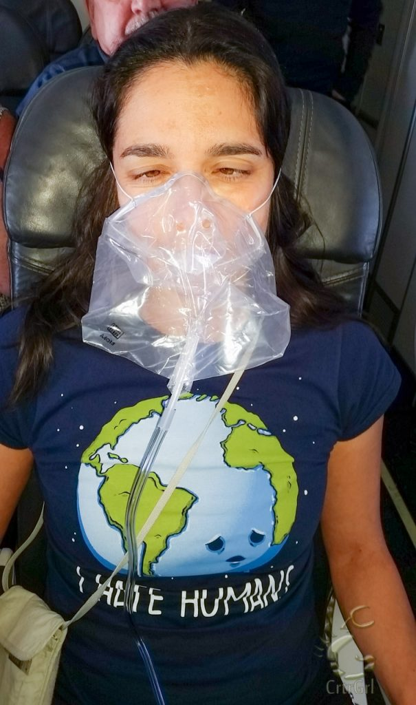 I muster some strength to get my goofy on while wearing an oxygen mask.