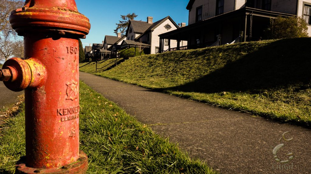 Red hydrant faces the Victorian style homes of Fort Worden State Park in Port Townsend.
